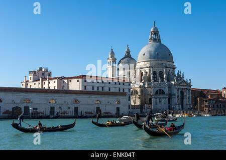 Gondoles sur le Grand Canal, Chiesa della Salute, Venise, UNESCO World Heritage Site, Vénétie, Italie, Europe Banque D'Images