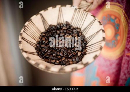 Les grains de café, vallée de l'Omo, Ethiopie, Afrique Banque D'Images