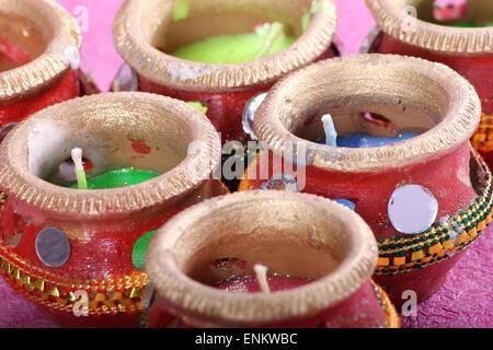 Pot bougie décorative close up Banque D'Images