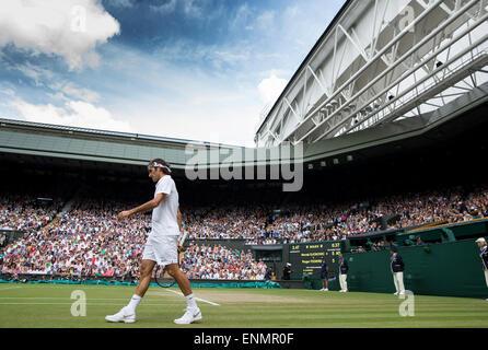 Roger Federer lors de la finale des championnats de Mens Wimbledon 2014 Le All England Lawn Tennis & Croquet Club Banque D'Images