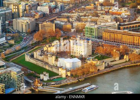 Vue aérienne de la forteresse de la Tour de Londres Banque D'Images