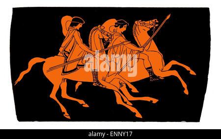 Grec ancien vase de terre cuite, les cavaliers sur des chevaux avec des lances. Isolé sur blanc. Banque D'Images