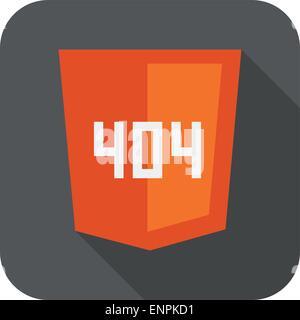 Collection de vecteur de développement web shield signe avec erreur 404 Non trouvé l'icône isolé Banque D'Images
