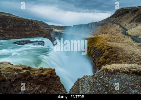 Cascade de Gullfoss, l'Islande Banque D'Images