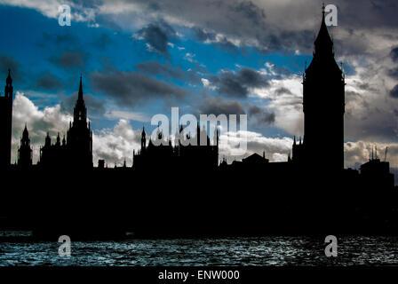 Chambres du Parlement, Westminster, Londres, Silhouette Banque D'Images