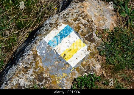 Bleu et jaune piste touristique inscription peinte sur un rocher Banque D'Images