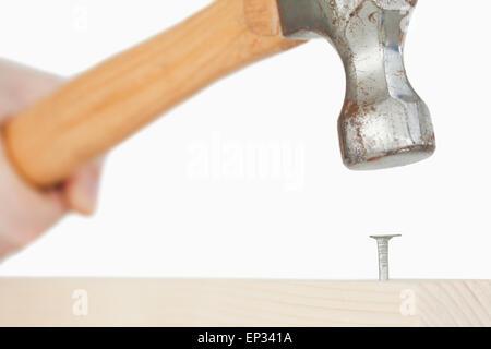Main tenant un marteau pour extraire un clou dans une planche en bois Banque D'Images