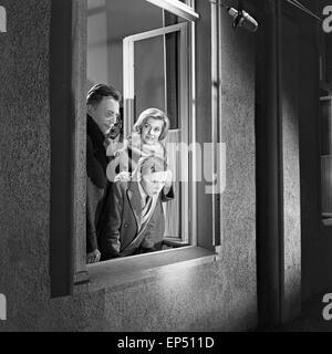 Spielszene zum Fach Geschichte' 'im Rahmen des Schulfernsehens des NDR à Hambourg, Deutschland 1960 er Jahre. Scène de la subjec