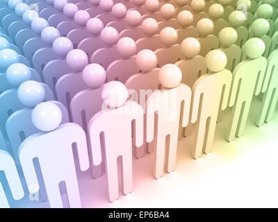 Résumé schématique des gens colorés dans un tableau. Concept foule 3d illustration numérique Banque D'Images