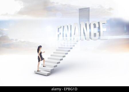 Finances contre white étapes menant à la porte fermée Banque D'Images
