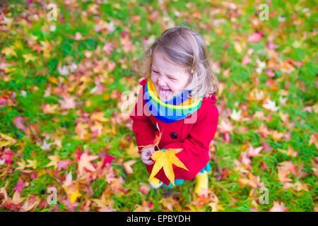 Little girl in autumn park Banque D'Images