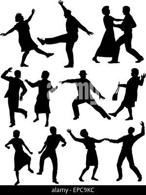 Jeu de silhouettes vecteur modifiable de personnes âgées des couples danser ensemble avec tous les chiffres en tant Banque D'Images