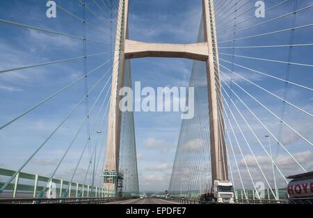 Traversée de rivière Severn sur neuf,deuxième Severn Bridge,Prince de Galles,pont route à péage, sur l'autoroute M4 à partir de l'Angleterre, près de Bristol à Newport, Pays de Galles, Royaume-Uni