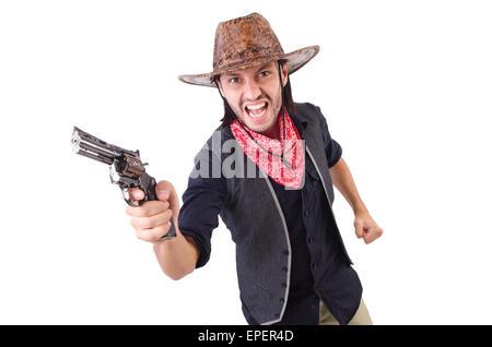 Cowboy isolé sur fond blanc Banque D'Images