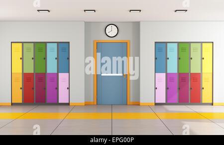 Intérieur d'une école moderne avec des casiers des élèves et porte d'une salle de classe - Le Rendu 3D Banque D'Images