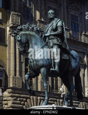Cosimo I de Médicis (1519-1574). Grand-duc de Toscane et le duc de Florence. Monument. Statue. Florence, Italie. Banque D'Images