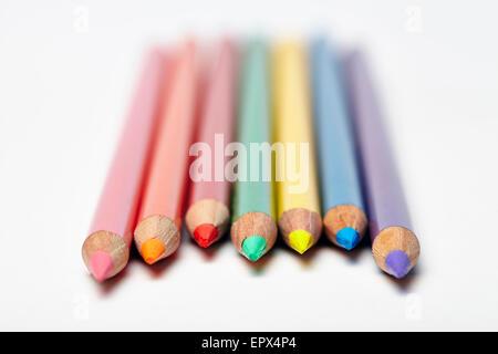 Close-up of Colored Pencils Banque D'Images