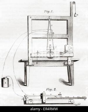 Le premier télégraphe électrique par Samuel Morse en 1837. Banque D'Images