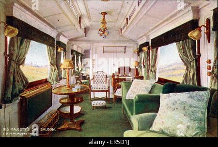 Le roi Édouard VII - Jour salon de voiture, en Angleterre. London &AMP; North West Railway 1908 Banque D'Images
