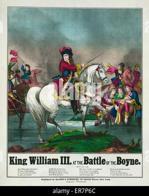 Le roi Guillaume III à la bataille de la Boyne. Imprimer montrant William III à cheval menant des troupes au combat. Banque D'Images