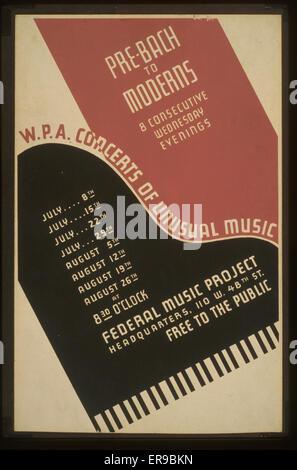 WPA. concerts de musique inhabituelle pour Pre-Bach les modernes: 8 mandats consécutifs mercredi soir. Pour l'affiche Banque D'Images