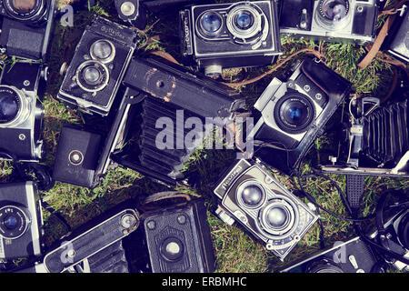 Collection de vieux film retro vintage caméras analogiques couché sur fond vert pelouse Banque D'Images