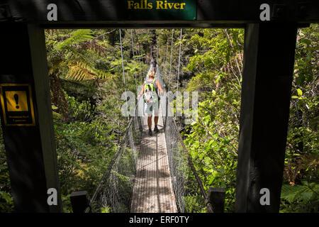 Les promeneurs sur le dessus des chutes swingbridge River le long de l'Abel Tasman coastal track en Nouvelle-Zélande. Banque D'Images
