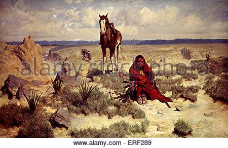 Peinture sans titre par C.W.Bromley. Fille montrant et le cheval. Banque D'Images