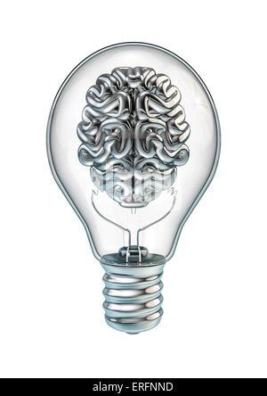 De rendu 3D chrome brillant à l'intérieur du cerveau lightbulb Banque D'Images