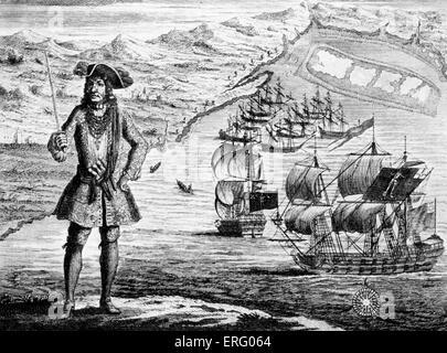 Le capitaine Bartholomew Roberts avec deux navires, 'La Fortune Royale' et 'la' Ranger sur la côte de Guinée', gravure Banque D'Images