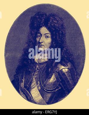 Louis XIV de France, portrait. Connu comme le Roi Soleil (le Roi Soleil), régna de 1643 à sa mort en 1715. B. Septembre Banque D'Images