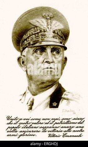 World War 2: Victor Emmanuel III d'Italie. Carte postale italienne patriotique. Portrait avec légende: ' Royaume Banque D'Images