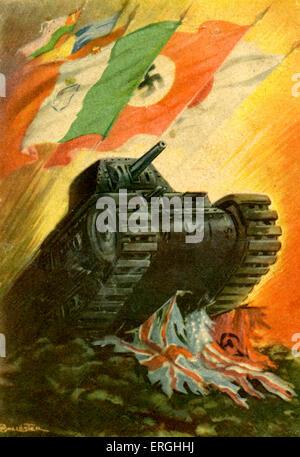 World War 2: Tank alliés concassage ' des drapeaux. D'un drapeau portant des drapeaux de l'Italie, l'Allemagne Banque D'Images