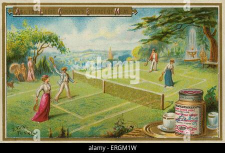 Un match de tennis. Carte Liebig, anglais, sport 1895. Banque D'Images