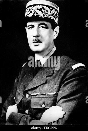 Charles de Gaulle, portrait. Général et homme d'État français, 22 novembre 1890 - 9 novembre 1970.