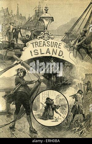 L'île au trésor de Robert Louis Stevenson titlepage. Publié pour la première fois que le numéro de série, 1881-1882. Rl: poète, romancier écossais, et