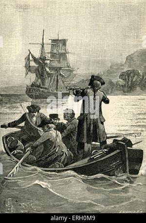 """L'île au trésor de Robert Louis Stevenson. Sous-titre suivant: """"L'Écuyer a soulevé son arme, l'aviron a cessé."""" (John Squire"""