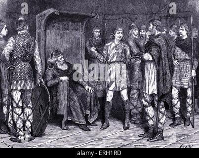 Le Roi Lear (Acte I Scène 4) Pièce de William Shakespeare. Lear, Kent et le fou. 'Fool: Permettez-moi de l'embaucher Banque D'Images