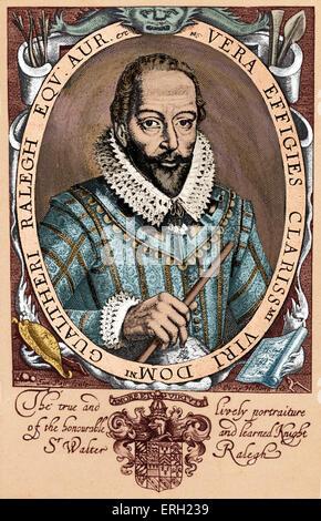 """Sir Walter Raleigh, portrait. Soldat anglais, explorateur, courtisan, écrivain, 1552-1618. Sous-titre suivant:"""" Banque D'Images"""