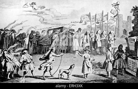"""Henry Fielding: caricature contemporaine. Sir Robert Walpole se moque de la """"enterrement"""" d'une motion de l'opposition Banque D'Images"""