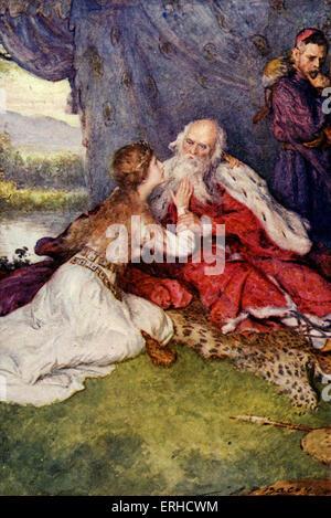 William Shakespeare - LE ROI LEAR, acte IV scène Sc vii 'Je suis un insensé, fond vieil homme'. Avec Lear Cordelia Banque D'Images