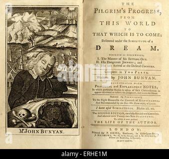 """John Bunyan - page de titre de l'écrivain anglais 's livre 'Le progrès' du pèlerin (1776). 'The Pilgrim's Progress de ce monde pour que ce qui est à venir dans le cadre de l'imitation d'un rêve"""". Londres, publié 1776. D'abord publié 1678. Les pèlerins. JB: 28 novembre 1628 - 31 août 1688. Écrivain religieux anglais, prédicateur, théologien, poète."""
