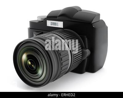 Appareil photo reflex numérique isolé sur blanc. Banque D'Images