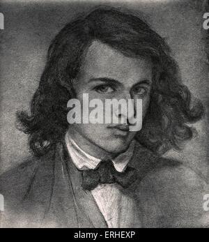 Dante Gabriel Rossetti, Dante Gabriel Rossetti ou Charles - peintre et poète anglais, traducteur 1828-1882. L'auto Banque D'Images