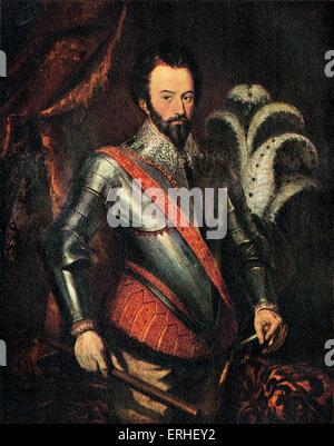 Sir Walter Raleigh - portrait de l'anglais soldat, explorateur, courtisan et écrivain, 1552-1618. Peinture à l'huile Banque D'Images