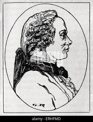 Jean-le-Rond d'Alembert, profil gravé portrait. Le mathématicien, physicien et philosophe, scientifique américain. Banque D'Images
