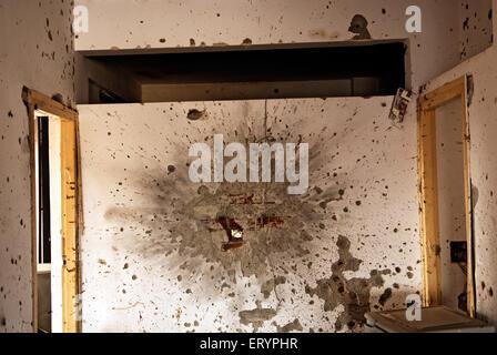 Grenade et balles à nariman house centre communautaire juif par deccan mujahedeen attaque terroristes à Bombay Banque D'Images