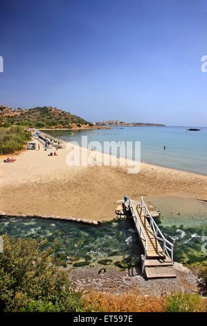 Almyros beach (zone humide) et très proche de la ville de Agios Nikolaos, Lassithi, Crète, Grèce. Banque D'Images