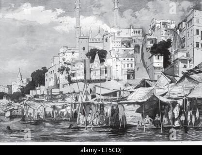 Vue générale de Bénarès; Varanasi Uttar Pradesh; Inde; Banque D'Images