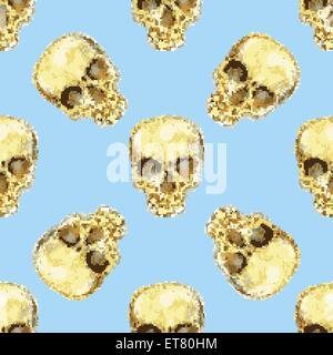 Crâne d'aquarelle dans un style vintage, vector pattern transparente Banque D'Images
